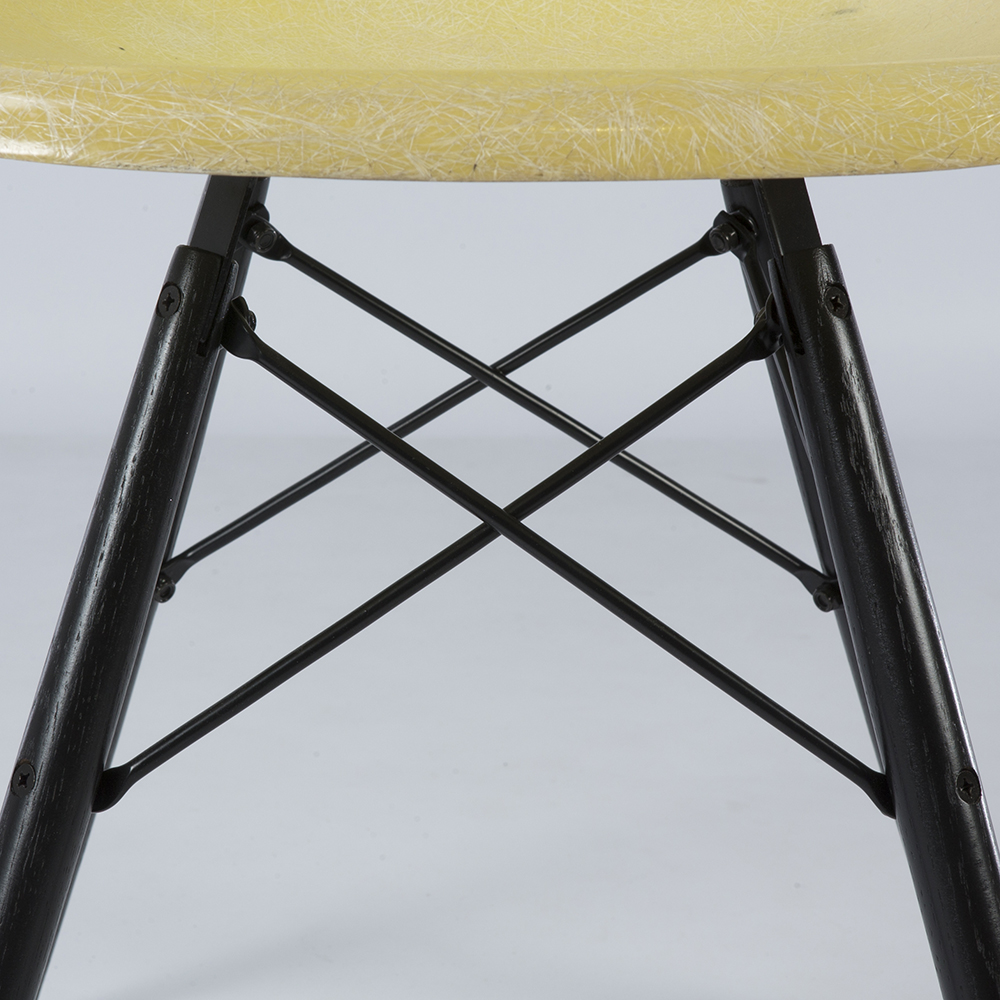 Lemon Yellow 1959 Herman Miller Eames DSW Dowel Side Chairs in very good condition