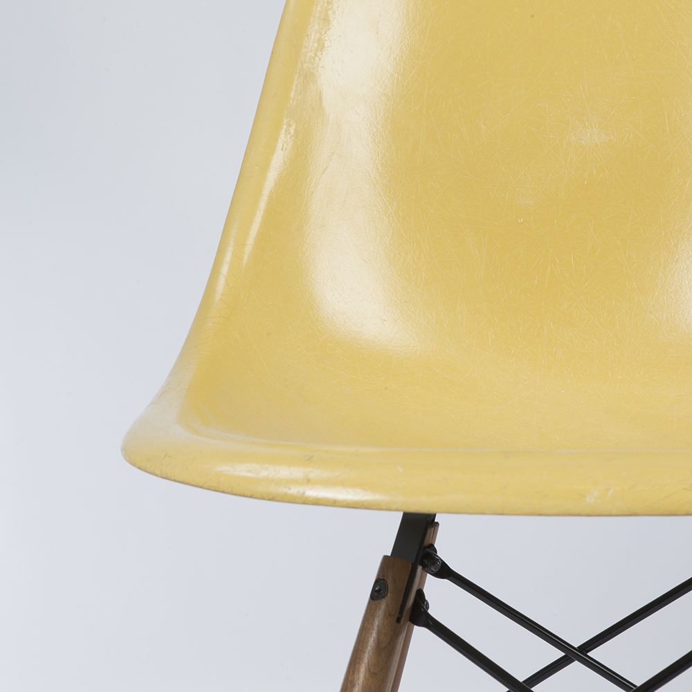 Ochre Light Yellow 1960s Herman Miller Eames DSW Dowel Side Chairs in very good condition