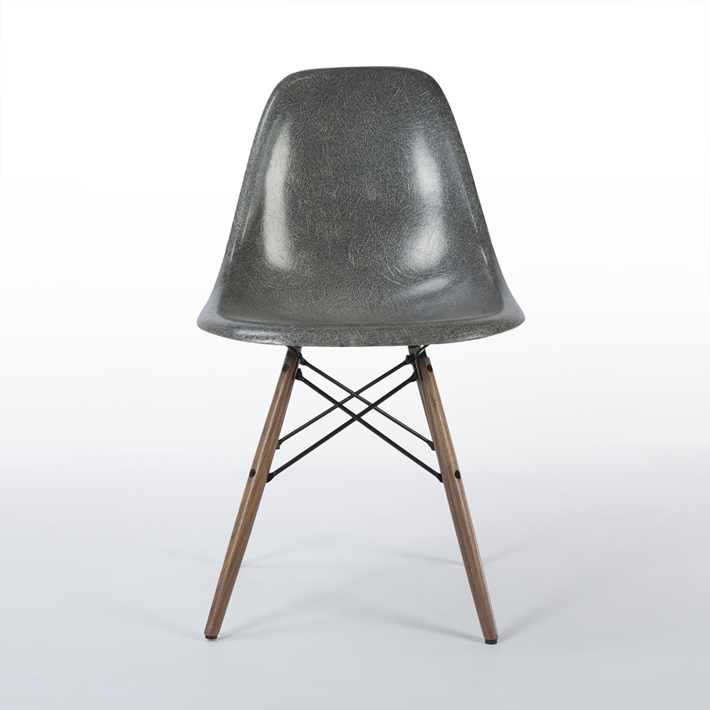 Elephant Hide Grey 1957 Herman Miller Eames DSW Dowel Side Chairs in very good condition