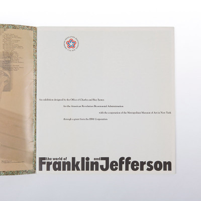 The inner cover of the Franklin Jefferson book detailed the collaboration between the Eames Office, IBM and MOMA