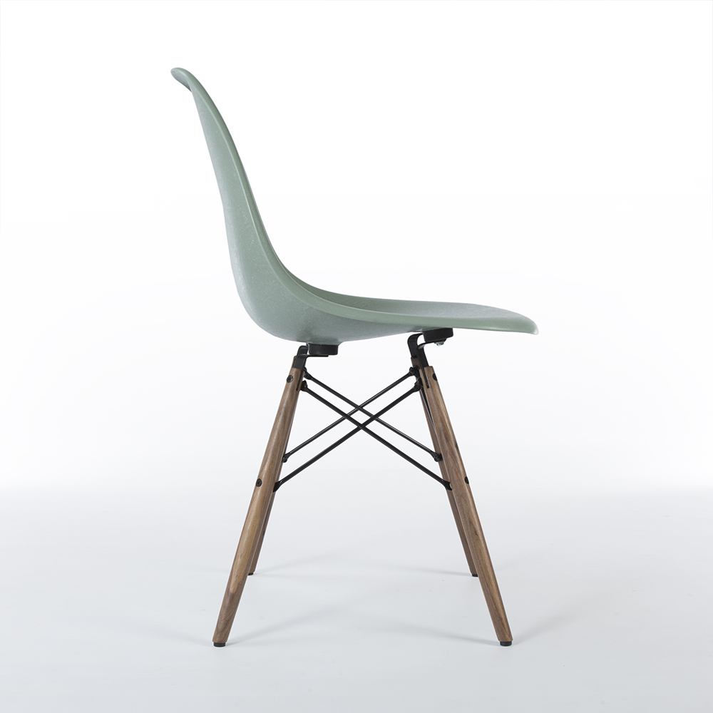 Sea Foam Green 2010s Vitra Eames DSW Dowel Side Chairs in excellent condition