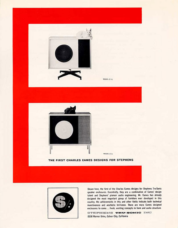 Original Stephens Tru-sonic Brochure release for the Eames E-1 and E-2 audio speakers