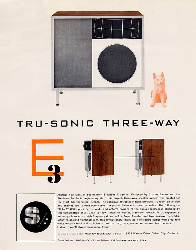 Original Stephens Tru-sonic brochure release for the Eames E-3 'three way' speaker system