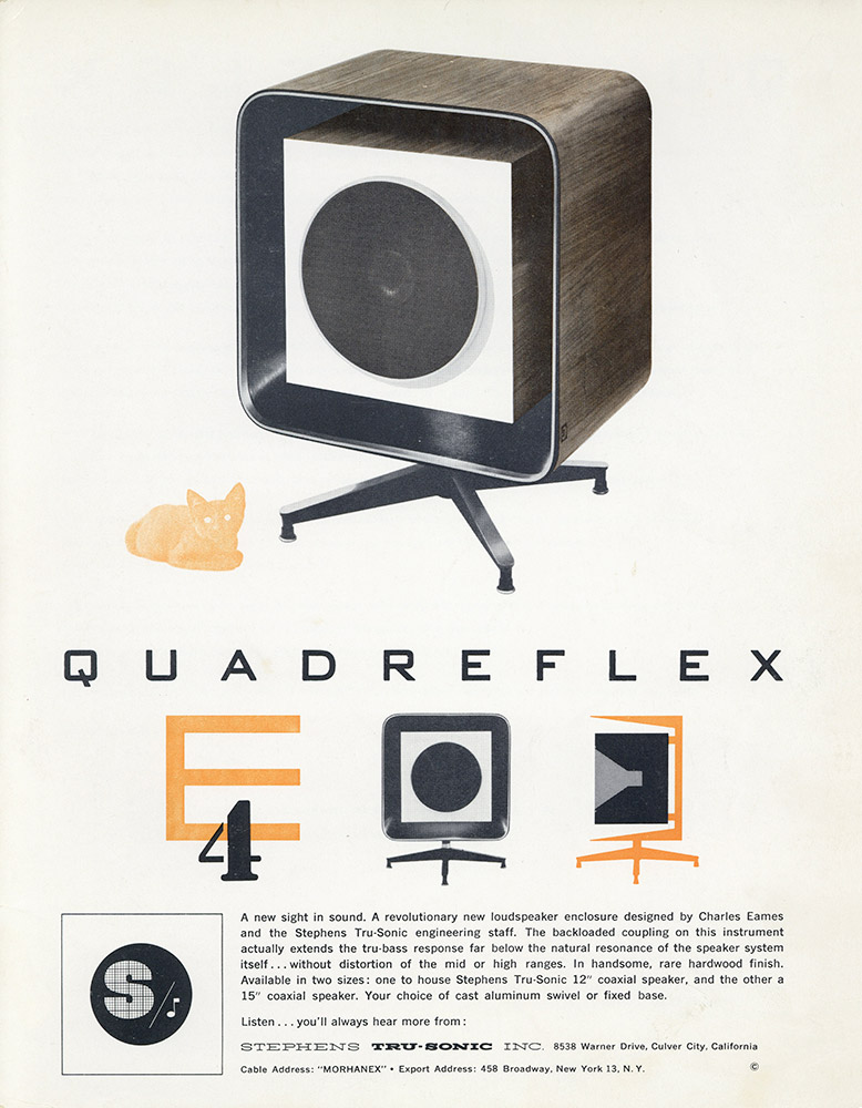 The original Stephens Tru-sonic brochure release for the E-4 Quadreflex Eames speaker, the last model in the range