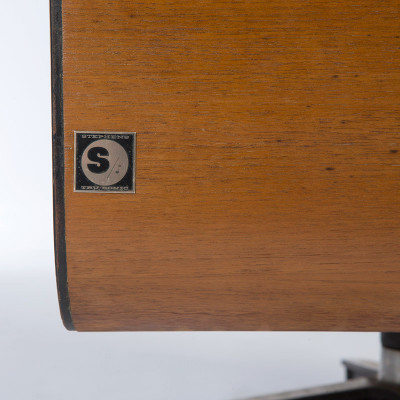 The Eames E-4 Quadreflex was given the new square foil label for the Stephens Tru-sonic company
