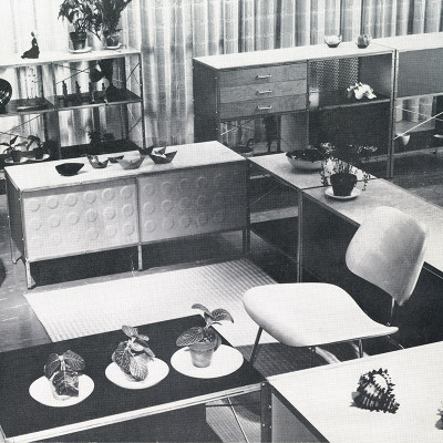 This 1952 Herman Miller catalog brochure image depicted the Eames ESU units as useful room dividers