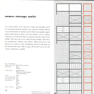 This 1952 Herman Miller brochure specification page shows the available finishes of all components