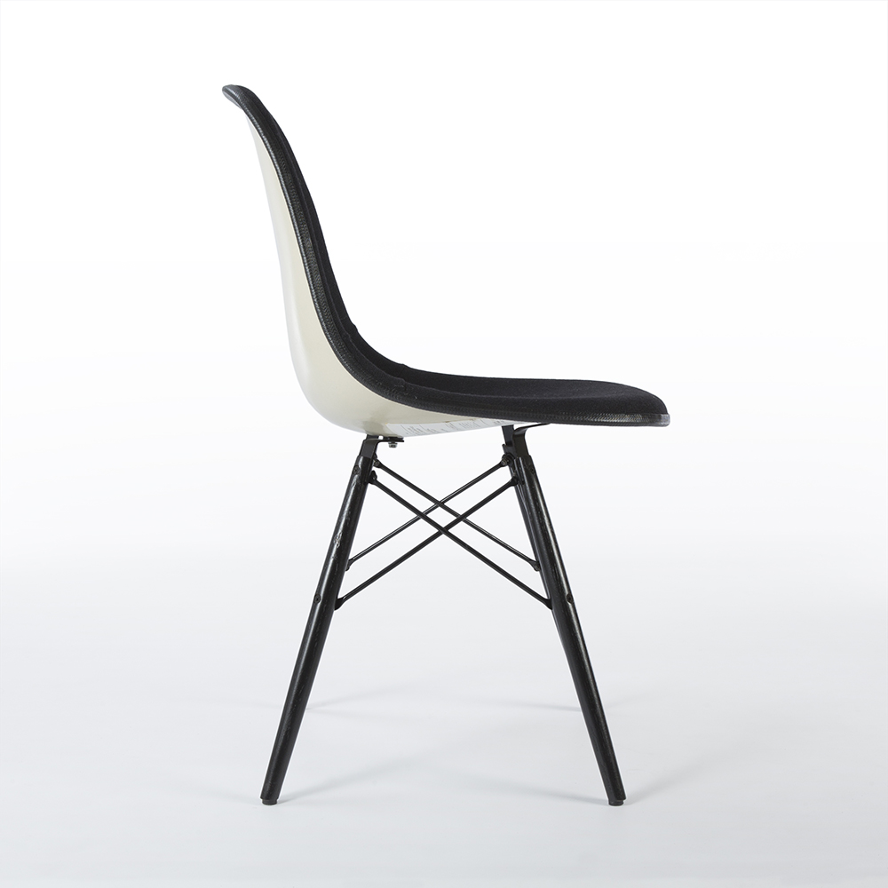 Black 1960s Herman Miller Eames DSW Dowel Side Chairs in very good condition
