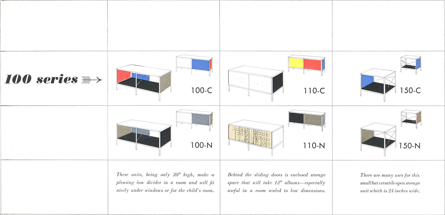 1950 Herman Miller Brochure snippet of the Eames ESU 100 Series storage Units