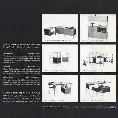 1950 Herman Miller release brochure for the ESU/EDU series depicting the available desk models at the bottom of the page.