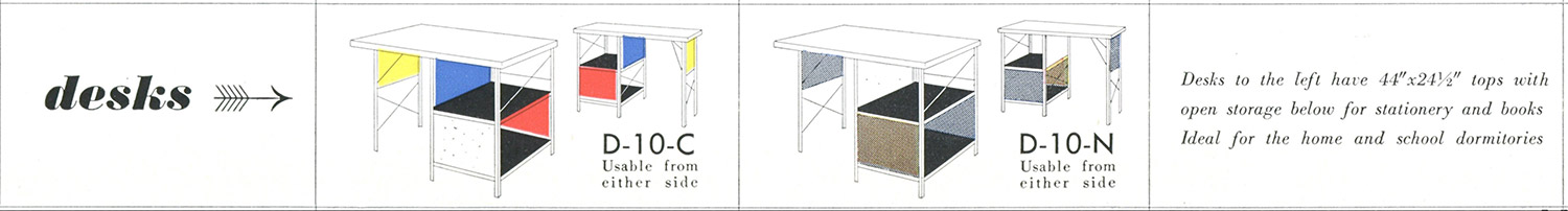 Early extract from a ESU/EDU catalog detailing the D-10 desk with the option of colored (-C) or neutral (-N) panels
