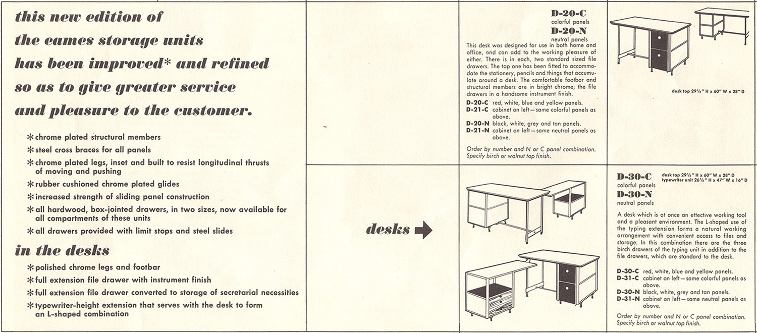 This 1953 Herman Miller brochure pamphlet for the ESU/EDU series shows the 2nd generation changes made to the desks