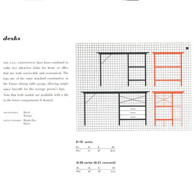 1952 Herman Miller brochure EDU specification page with mistake in the depth of the D-10.
