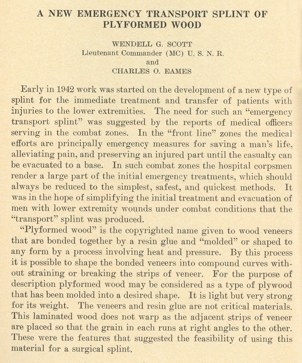 The first page of the September 1943 Navy medical bulletin detailing the availability of the new Eames Leg Splint