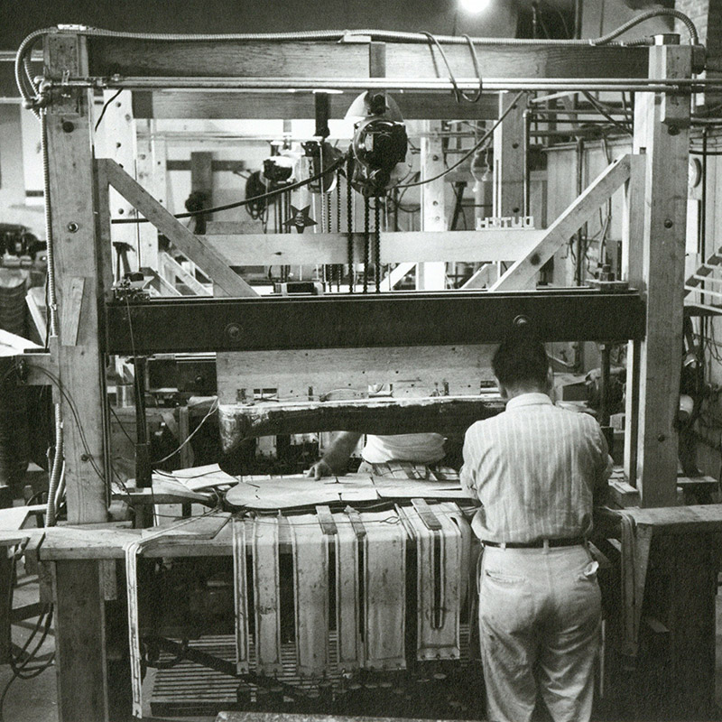 Early work and tooling machines, seen here for wartime work on the plywood leg splints.