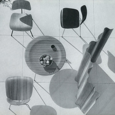 An early (1948) Herman Miller brochure image of the plywood furniture group including a half height FSW-6