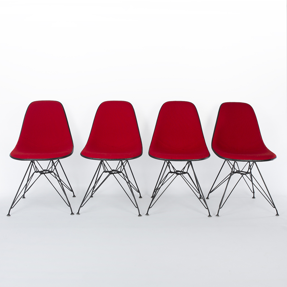 Red 1970s Herman Miller Eames DSR Eiffel Side Chairs in very good condition