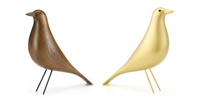 The solid Walnut Eames Housebird (left) was superseded only by the very limited edition Gold Leaf version (right)