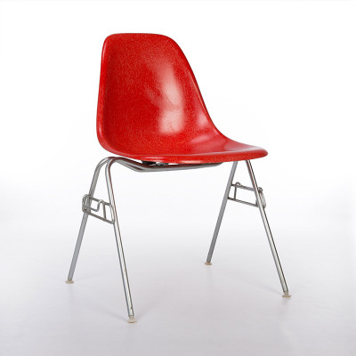 DSS Chair in Crimson Red on Zinc Plate Base - 1960's