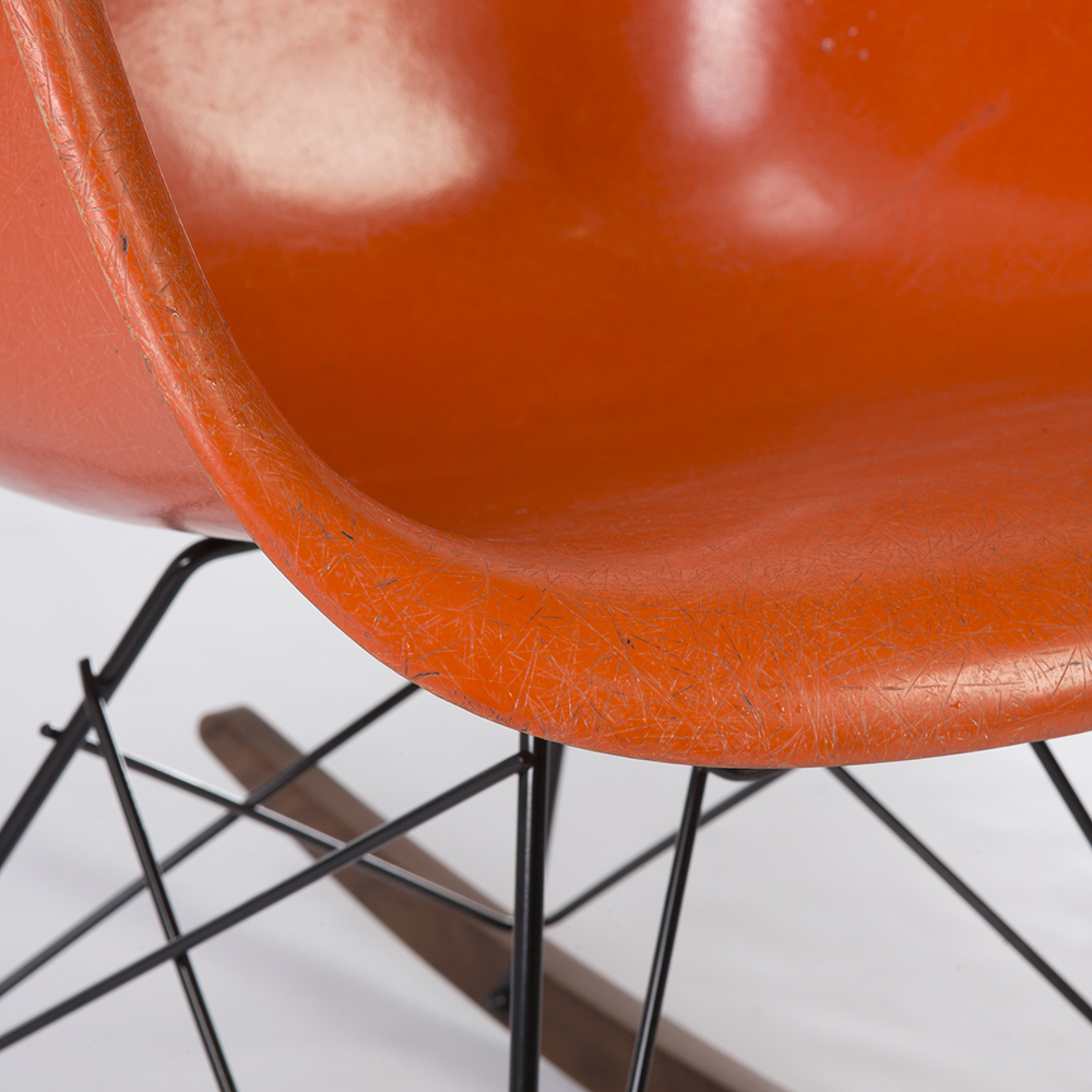 Orange 1960s Herman Miller Eames RAR Rocking Arm Chairs in very good condition