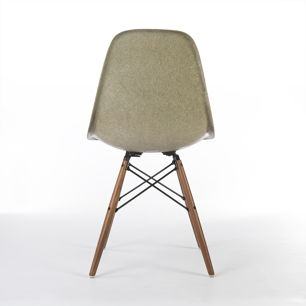 Raw Umber Grey 1960s Herman Miller Eames DSW Dowel Side Chairs in very good condition