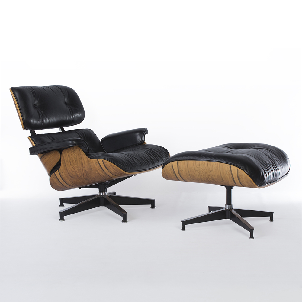 Black 1990s Herman Miller Eames Lounge Chair & Ottoman Lounge Seating in excellent condition
