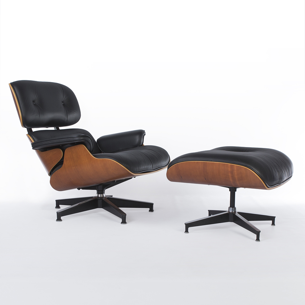Black 2010s Herman Miller Eames Lounge Chair & Ottoman Lounge Seating in excellent condition