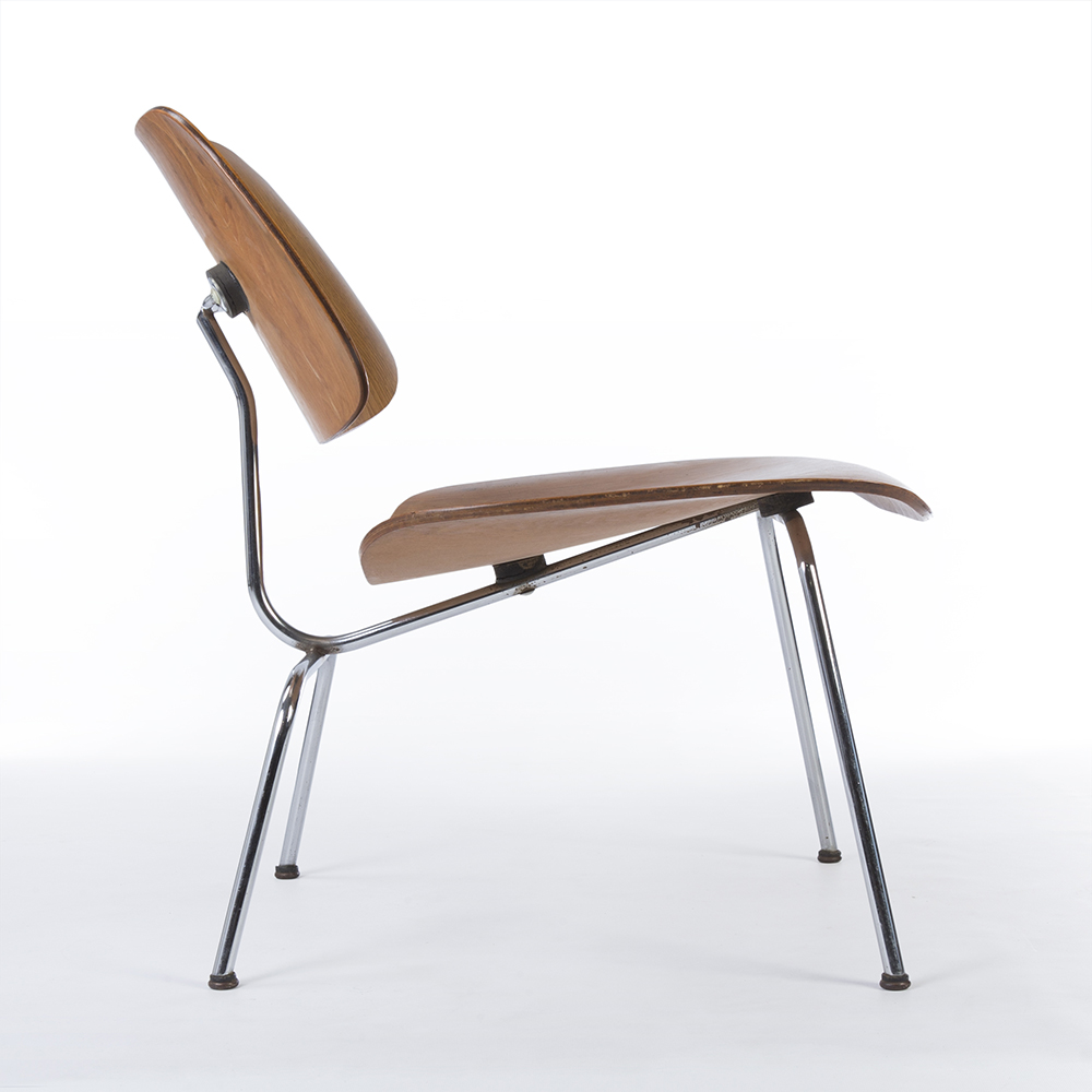 Tan Light Brown 1940s Herman Miller Eames LCM - Ply Lounge Chair Metal Chairs in very good condition