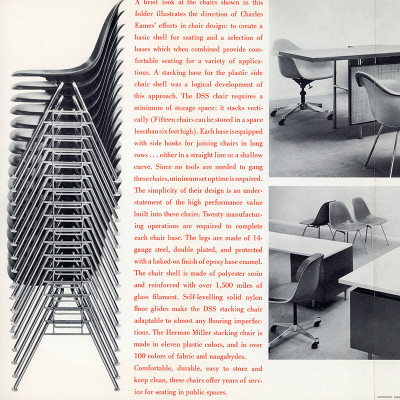 Original Herman Miller brochure for Eames stacking DSS chairs