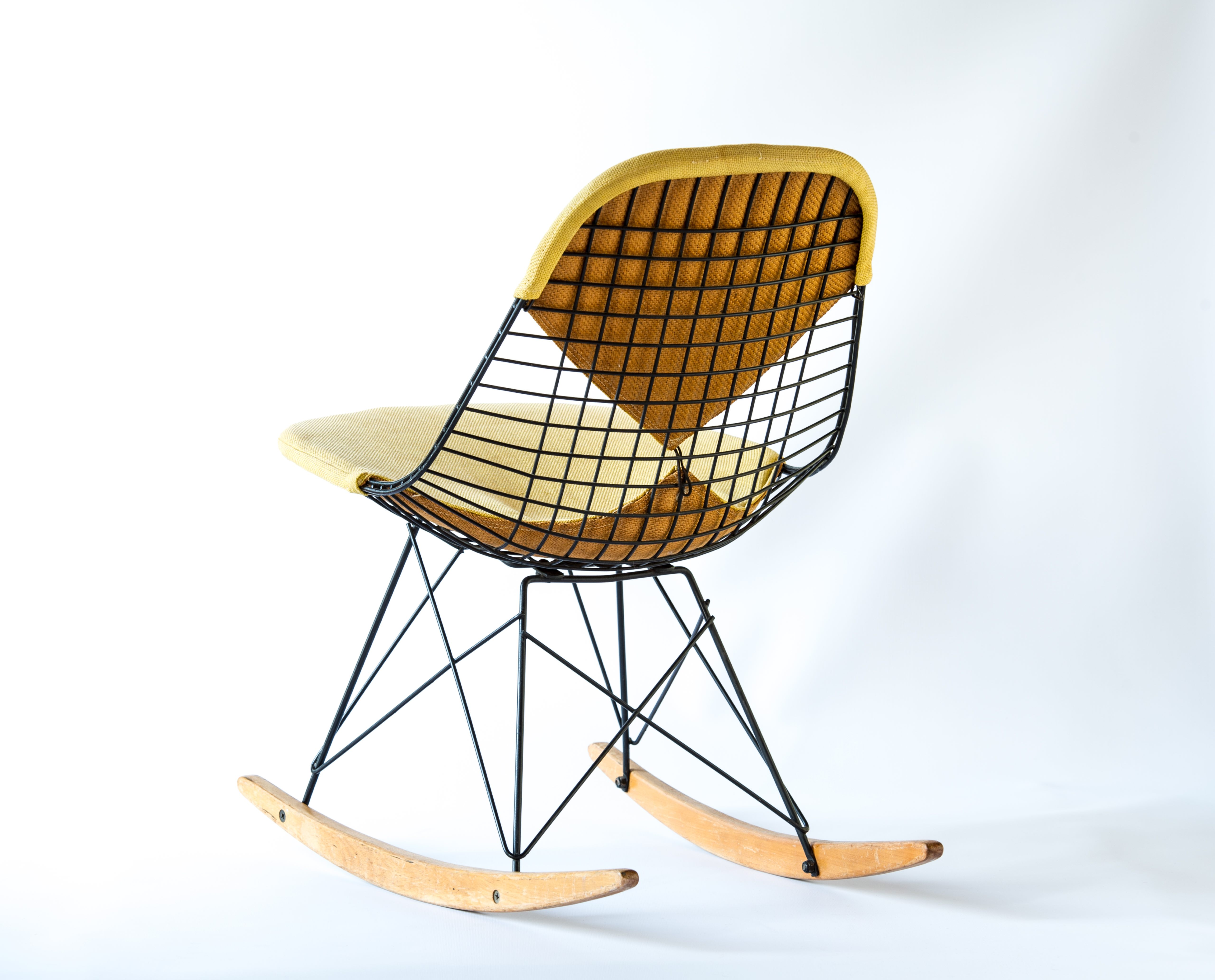 Yellow 1951 Herman Miller Eames DKW - Dowel Wire Side Chairs