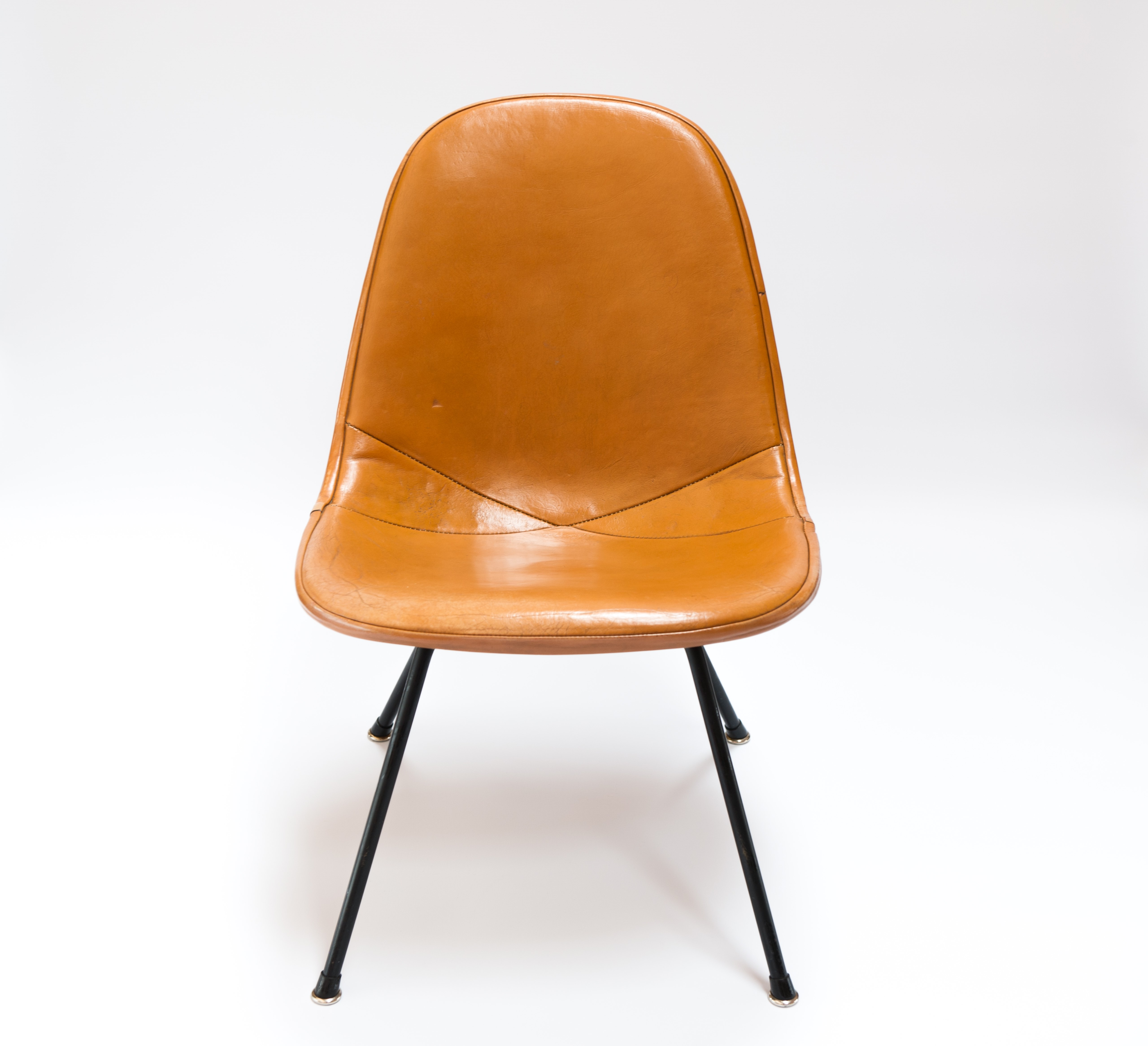 Brown 1953 Herman Miller Eames DKX - X-Base Wire Side Chairs in excellent condition