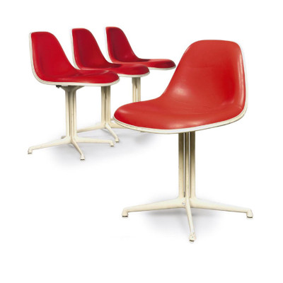 Group of La Fonda side chairs in Crimson Naugahyde on White base