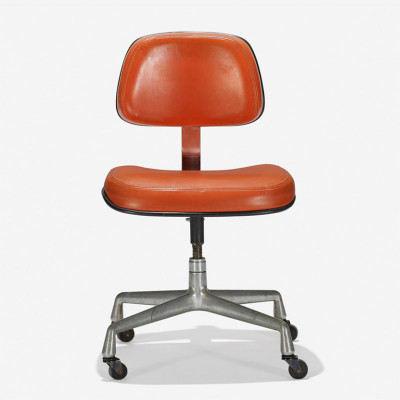 Mid 1970's EC228 chair in orange Naugahyde vinyl upholstery