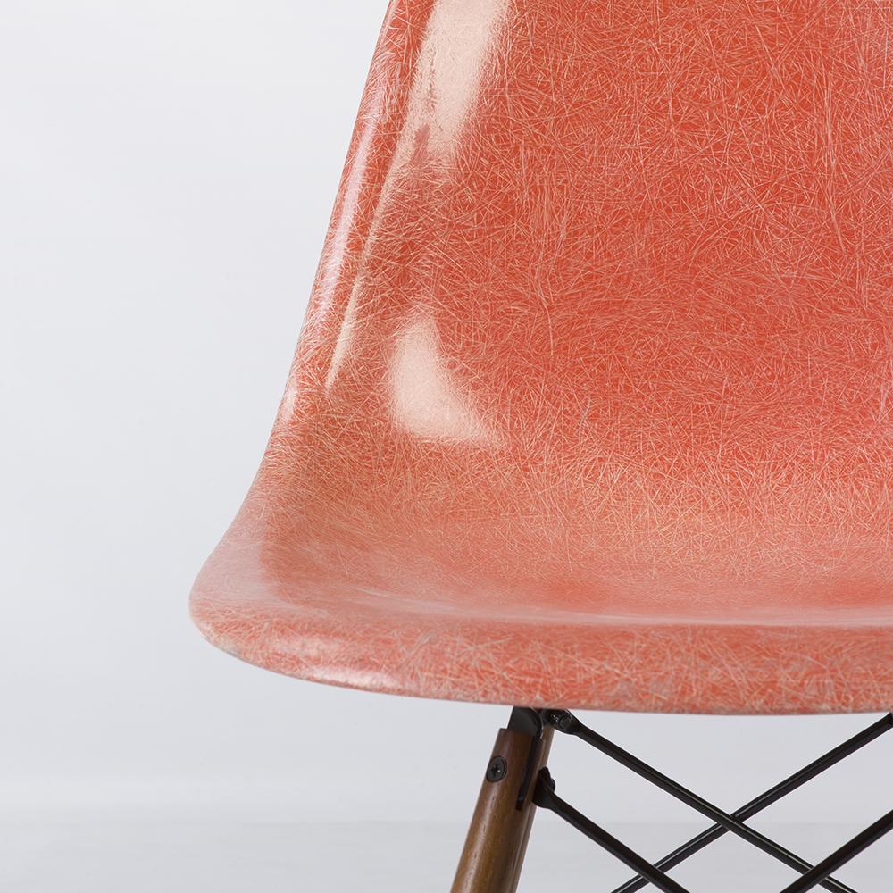 Salmon Orange 1950s Herman Miller Eames DSW Dowel Side