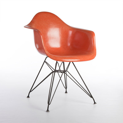 Late 1950's Eames Eiffel DAR Chair carrying orange fiberglass shell