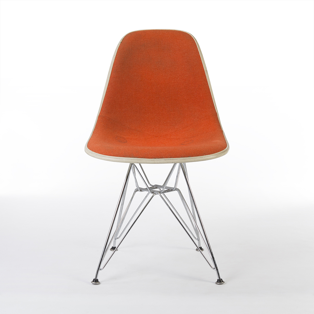 Red Orange 1960s Herman Miller Eames DSR Eiffel Side