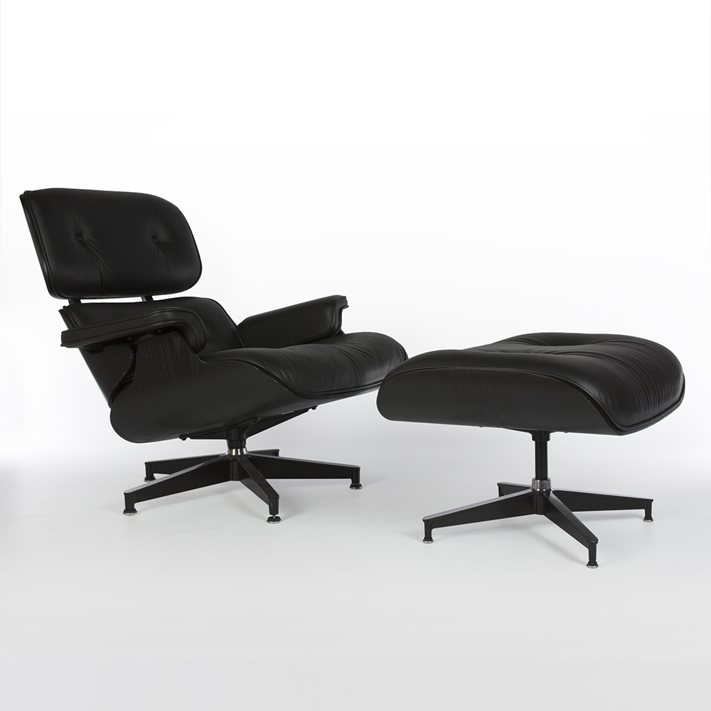 Black 2010s Herman Miller Eames Lounge Chair & Ottoman