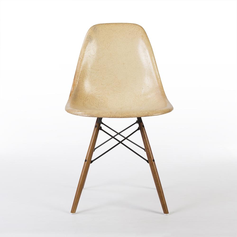 Parchment White 1960s Herman Miller Eames DSW Dowel Side