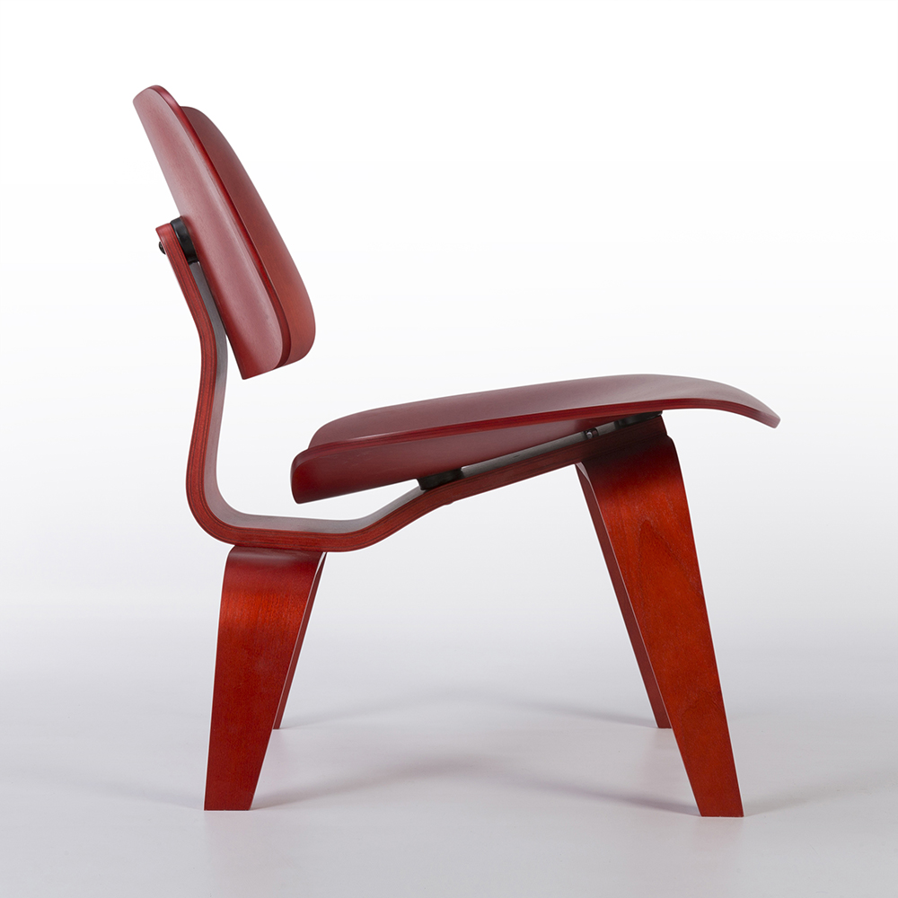 Red 2010s Herman Miller Eames LCW - Ply Lounge Chair Wood
