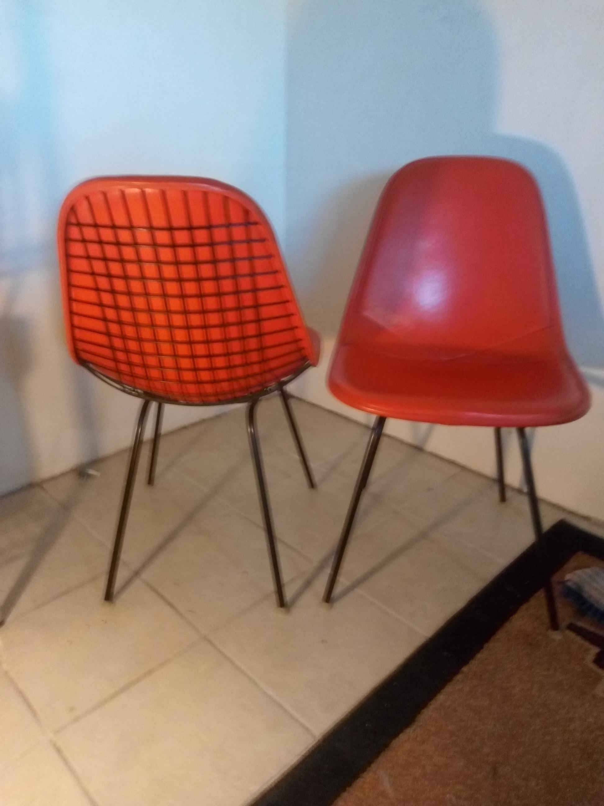 Orange 1960s Herman Miller Eames DKX - X-Base Wire Side