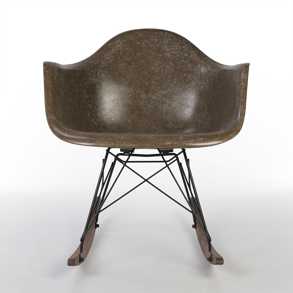 Seal Brown 1950s Herman Miller Eames RAR Rocking Arm