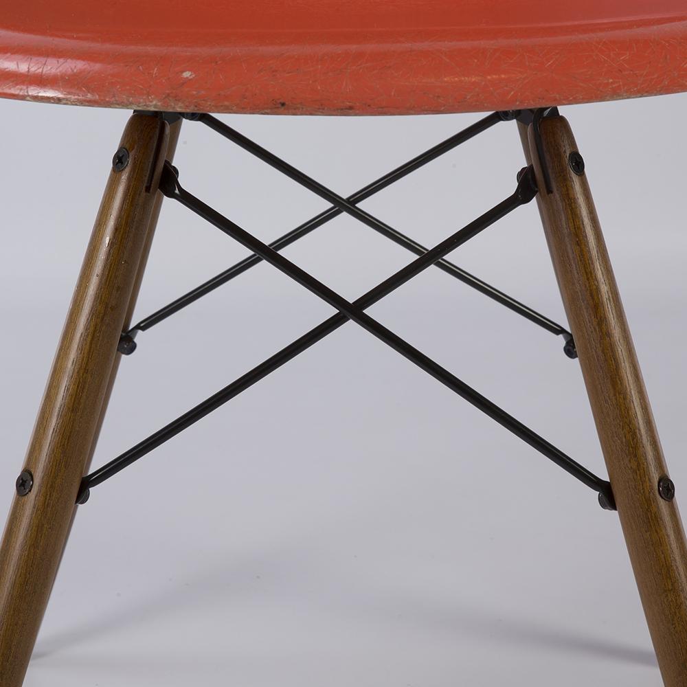 Orange 1960s Herman Miller Eames DSW Dowel Side
