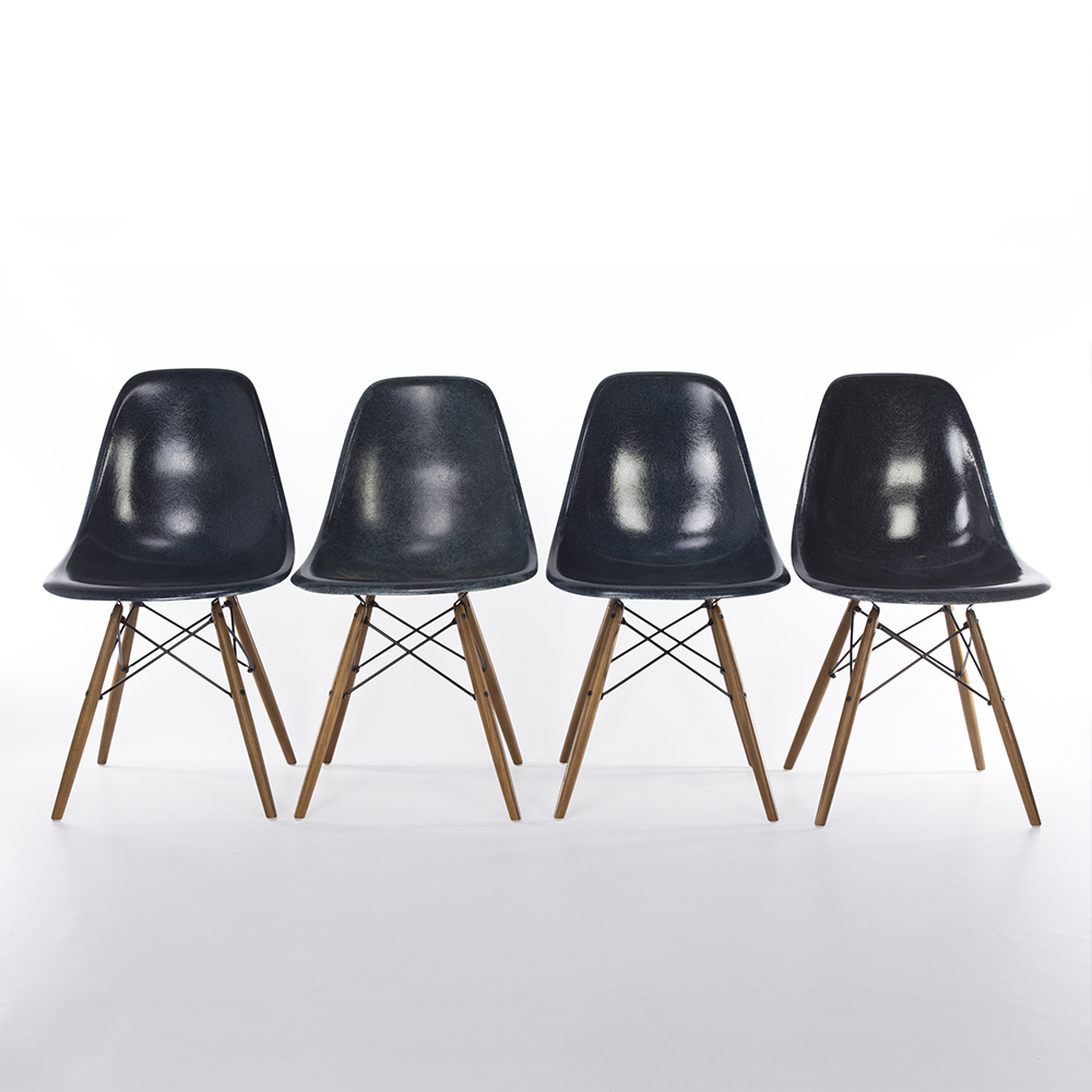 Navy Blue Herman Miller Eames DSW Dowel Side