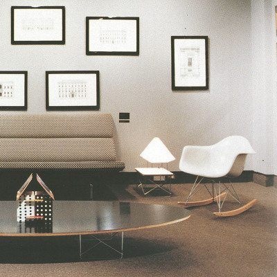 Photograph of Herman Miller showroom setup including Eames RAR