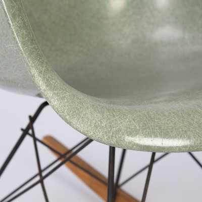 Close up of Seafoam Arm Eames RAR Shell Chair
