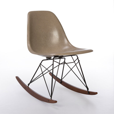 RSR rocking side chair with Greige fiberglass top and post 2001 base