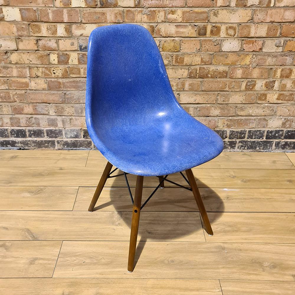Ultramarine Blue Herman Miller Eames DSW Dowel Side