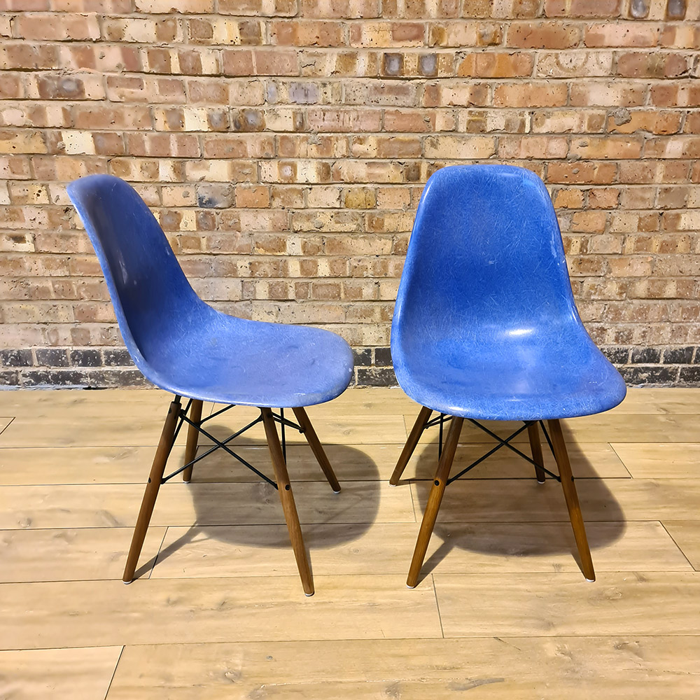 Ultramarine Blue Herman Miller Eames DSW Dowel Side