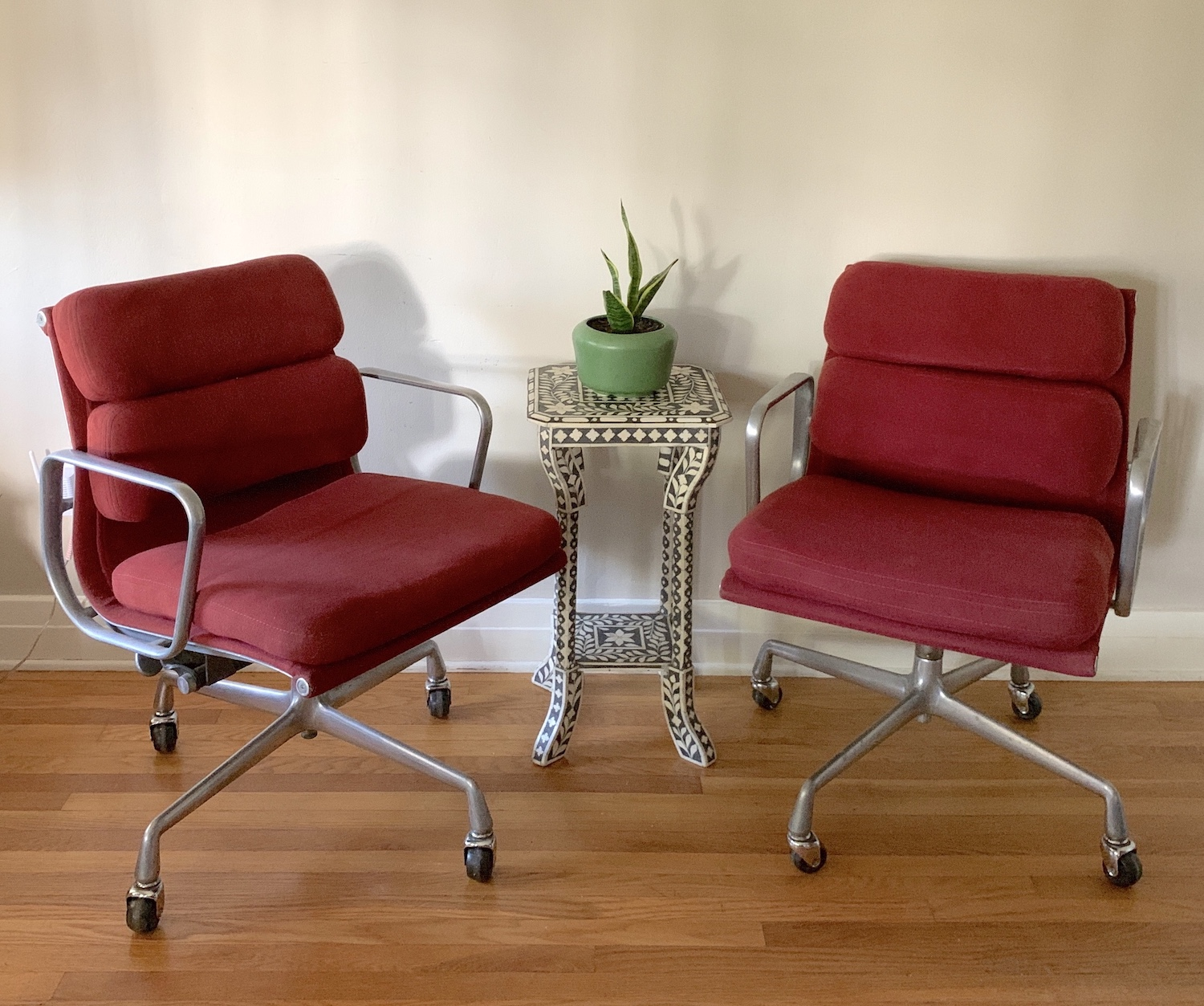 Crimson Red 1982 Herman Miller Eames Soft Pad low Back Side Chair