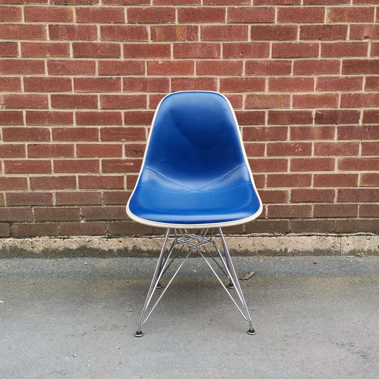 Blue 1970s Herman Miller Eames DSR Eiffel Side